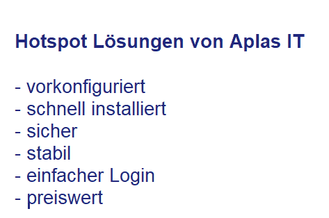 Hotspot WLAN Lösungen Aplas IT